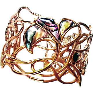 Hand Crafted Designer Signed 1987 Cuff Filigree Bracelet Open Work Wire 14 KT GP Abalone Shell Inlay