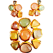 Joan Rivers 1990's Signed Pastel Fantasy Mosaic Flower Brooch And Earrings Set