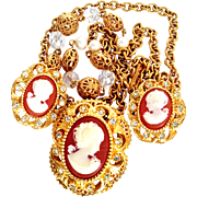 R.J. Graziano 1990's Signed Faux Cameo Sautoir Necklace/Pendant/Brooch/ Earrings Demi-Parure