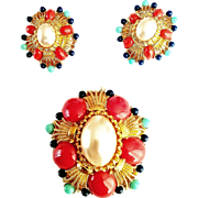 Joan Rivers- 1990's  Couture  Mabe Faux Pearl  Coral Turquoise Lapis Lazuli Lucite Cabochons  Brooch/Earrings Demi-Parure