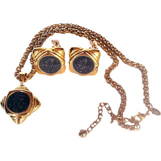 Joan Rivers-  Signed 1990's 18 KT GP  Faux Antique Coin Necklace/Pendant  Clip On Earrings Demi-Parure