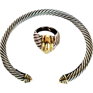 David Yurman- 1980's Bangle Bracelet/ Ring Set Signature Cable 925 Sterling Silver & 14KT Gold