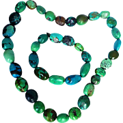 JAY KING-  Handcrafted Hubei Turquoise Stones Chunky Necklace/Bracelet Set