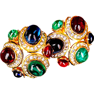 Ciner  Rare 1980's Couture  Signed Earrings Clip-Ons  Gripoix Art  Glass  Jewels Of India Style