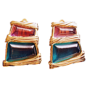 Givenchy  Runway Rare 1980's Signed Free Form Purple and Green  Lucite  Earrings