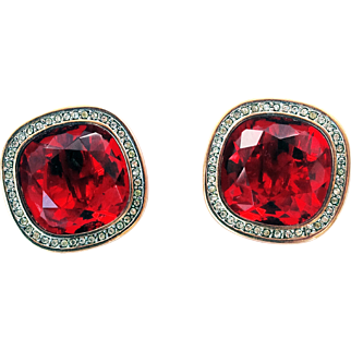 Daniel Swarovski Company (DSC)_ Signed  1980's Rare Huge Faceted  Square Red Crystals 18KT GP Button-Style Clip-On Earrings