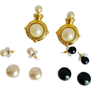 Kenneth Jay Lane  1990's  Rare Signed Interchangeable Clip-On Faux Pearls Earrings And  Pearl Studs Set