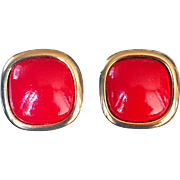 Nina Ricci  1980's Classic Clip-On Earrings Signed  Square Red-Enameled  Button Style
