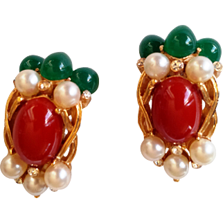 Crown Trifari- Rare 1960' Alfred Philippe Signed Jewels of India Kashmir Clip-on Earrings