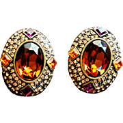 Heidi Daus-  1990's Large Clip On Earrings Oval Topaz Swarovski  Crystals Tastefully Yours Bronze Tone