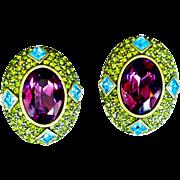 Heidi Daus-   Earrings  Oval Amethyst Encrusted  Olivine Blue faceted Swarovski Crystals Bronze Rubbed Metal