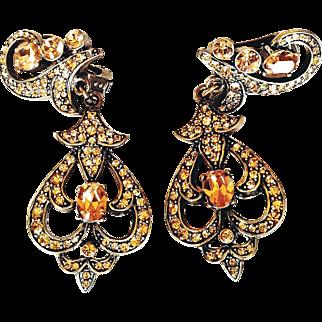 Heidi Daus  Runway  Chandelier Earrings Clip-On Amber Topaz Taupe Swarovski Crystals Bronze Rubbed Metal
