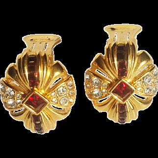 Nolan Miller- 1995 Red Garnet/Clear Swarovski Crystals Clip Earrings Ribbon Bow 18 KT GP
