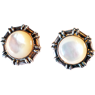 925 Sterling Silver Earrings Omega Clip Mother Of Pearl Handmade In Thailand