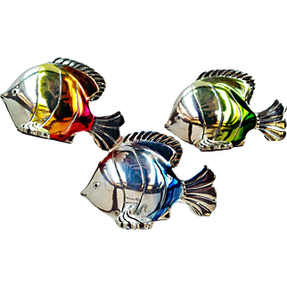 Hazorfim-  925 Sterling Silver Artist Handcrafted 3 Fish Figurines  Ombre Enamel