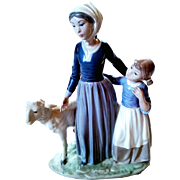 "Rare Lladro #5299 - 1985  Porcelain Figurine Vincente Martinez  ""Mother With Child And Lamb""Limited Edition  Retired 1988"