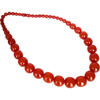 Baltic Amber_ 1970's Pressed Amber  (Pressbernstein) Stone Spherical Graduated Beads Necklace