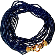 Ciner-Couture Torsade Necklace Bejeweled Leopard Heads Clasps Jet-Black Glass Beads 18 KT GP