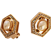 Christian Dior  Rare  1980's Clip-On Earrings Signed Hexagonal Imitation Oval Mabe Pearl  Crystals