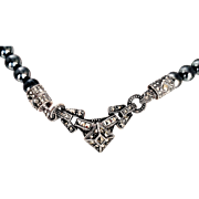 Judith Jack  Sterling Silver Necklace Marcasites, Imitation Charcoal Gray Pearls