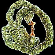 Joan Rivers  1990's Shades Of  Light-Green 24-strand Czech Glass  Seed Beads  Torsade