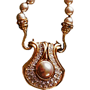 Nolan Miller  1993's Couture  Versatile Glass Imitation Pearls Crystals Bejeweled Sculptured Reversible Pendant/Necklace  18 KT GP