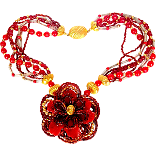 1980's  Handmade Murano  Seven Strand Shades of Red  Glass Beads  and Resin Flower Necklace