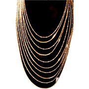 "Joan Rivers_ Graduated Gold Designer Chains Necklace  ""Cascading Waterfall""  10 Strands 18 KT GP"