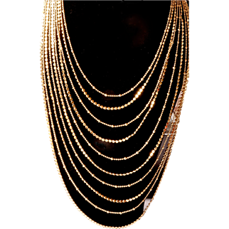 Joan Rivers_ Signed Retired 1990's 18KT GP  Cascading Waterfall  10  Graduated Strands Designer Chains Necklace