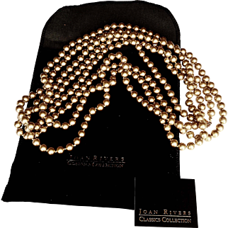 Joan Rivers_ Runway Signed  10 Feet Necklace  Flapper Style Golden Individually Hand Knotted  Glass  Faux Pearls