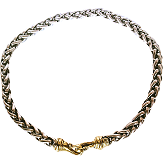 David Yurman  Artist Handcrafted Necklace Heavy Sterling Silver & 14 KT Gold Clasp Wheat Weave Gift For Her