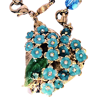 Kirk's Folly Retired Floral Locket Necklace Forget Me Knot Enamel Swarovski Crystals 18 KT GP Designer Sautoir Chain