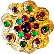 Authentic Indian Mughal (Mogul) Jewelry- 24K Gold Leaf , Emeralds And Rubies Gemstones Brooch