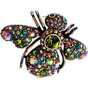 Joan Rivers-  Signed 1990's  AB Multi-Crystals Bejeweled  ROYAL BEE Antique  Bronze  Rubbed Metal  Brooch