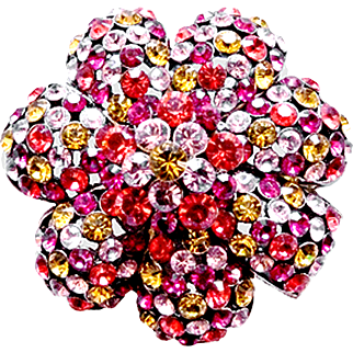 Joan Rivers   Signed 1990's Contemporary Multi-Color Sparkling Crystals  Gardenia  Flower  Silver-Tone Brooch