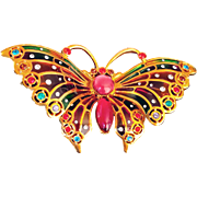 Joan Rivers –Signed 1990's  Rare Plique A Jour Enamel and Crystals Butterfly Brooch