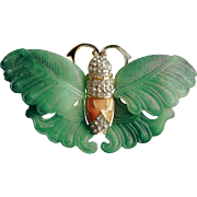 Kenneth Jay Lane Signed 1980's Molded Jade Epoxy Crystals Enameled  Butterfly Brooch