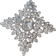 Kenneth Jay Lane  Signed 1990's  Couture  Jackie O. Star Crystal Fantasy Brooch