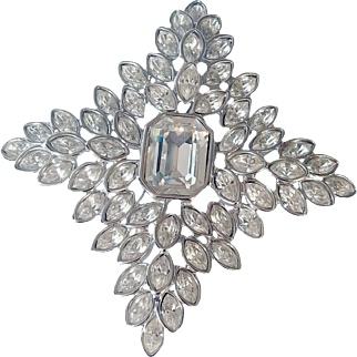 Kenneth Jay Lane Couture Jackie O.  Cruciform Crystal Fantasy Brooch Swarovski Crystals Rhodium Plated Signed