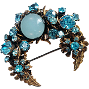 Miriam Haskell- 1940's Signed Rare Gold-Tone Crescent Brooch/Pin Aqua Moonstone Swarovski Crystals