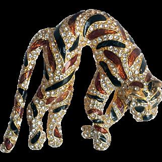 Ciner- 1980'S Tiger Brooch/Pin Amber Black Epoxy Enamel Swarovski Crystals 18 KT GP