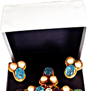 Chanel- Rare 1994 Runway Cruciform Gripoix Glass Brooch/Pendant/Earrings Set Faux Golden Pearls 18 KT GP