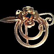 Harry Iskin- -1940's Fantasy Flower Brooch  12 KT Vermeil Sterling Silver Cobalt Blue Color Crystal