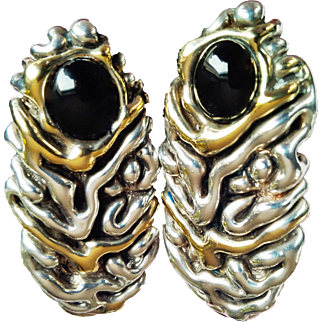 Wearable Art Designer Signed Handcrafted  Earrings 925 Sterling Silver Onyx Gem 14KT Vermeil Clip On