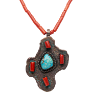 Silver,coral and turquoise necklace