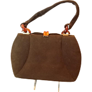 Vintage 40's Brown suede handbag with apple juice lucite closure