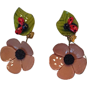 French plastic lady bug clip earrings
