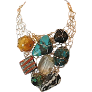 Woven gold filled turquoise and agate necklace