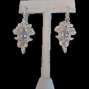 Sterling and paste pierced earrings
