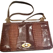 VIntage crocodile alligator shoulder bag from 70's